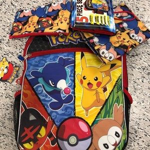 Pokémon 5 Piece Set Backpack NEW